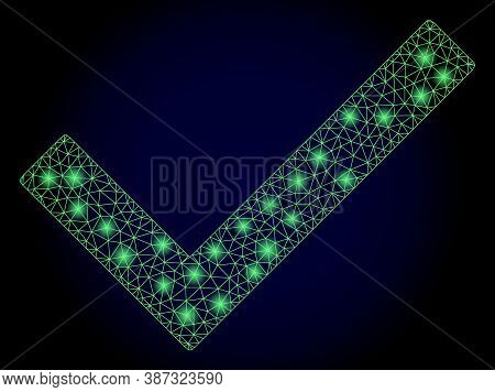 Bright Mesh Polygonal Yes Tick With Glowing Spots. Illuminated Vector Constellation Created From Yes