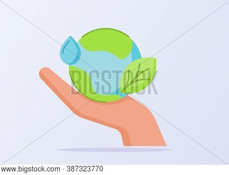 Ave Energy Concept Earth Water Droplet Leaf On Hand White Isolated Background With Flat Style