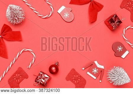 Winter Background Red. Stocking, Gifts, Winter Tree, Ribbon And Bow In Shape Frame On Red Background