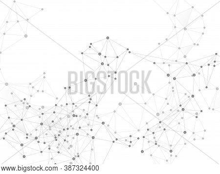 Social Media Communication Digital Concept. Network Nodes Greyscale Plexus Background. Bionic Ai Inn
