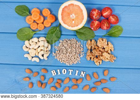 Inscription Biotin With Nutritious Different Ingredients Containing Vitamin B7, Dietary Fiber And Na