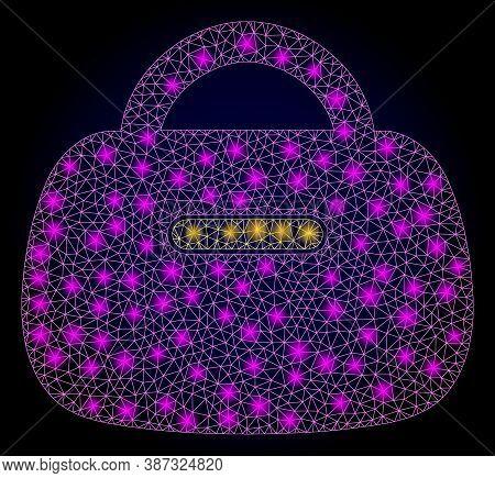 Shiny Mesh Polygonal Handbag With Glowing Spots. Illuminated Vector Model Created From Handbag Icon.