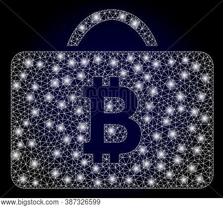 Glowing Mesh Network Bitcoin Case With Glowing Spots. Illuminated Vector Constellation Created From