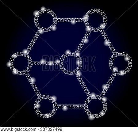 Shiny Mesh Polygonal Blockchain Nodes With Lightspots. Illuminated Vector Constellation Created From