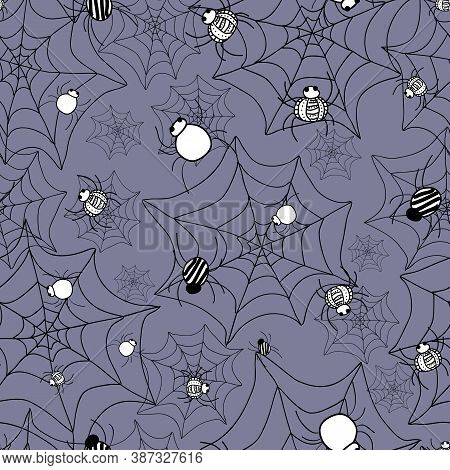 Crawly Spiders Pattern On Webs Seamless Vector Repeat Surface Design Halloween Doodle Style