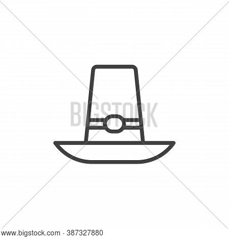 Thanksgiving Hat Line Icon. Linear Style Sign For Mobile Concept And Web Design. Pilgrim Hat Outline