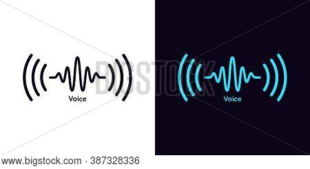 Sound Wave Icon For Voice Recognition In Virtual Assistant, Speech Signal. Abstract Audio Wave, Voic