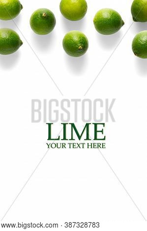 Creative Layout Made Of Lime On The White Background. Limes Flat Lay Modern Design. Food Concept. Li