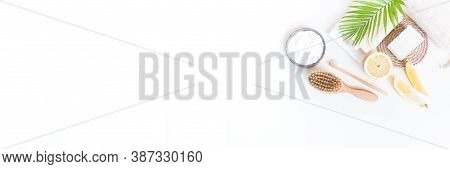 Eco Friendly Cosmetics. Body Care. Home Recipe From Nature. White Background. Banner Copy Space