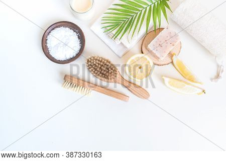 Eco Friendly Cosmetics. Body Care. Home Recipe From Nature. White Background.