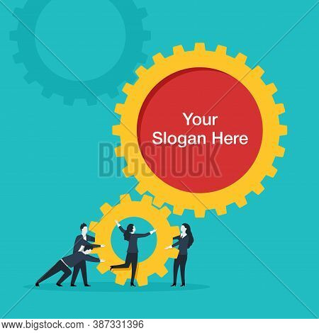 People Team With Gears And Place For Slogan Inside Cog Wheel - Business Management And Working Proce