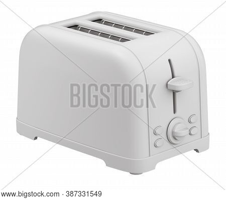Clay Render Of Toaster Isolated On White Background - 3d Illustration