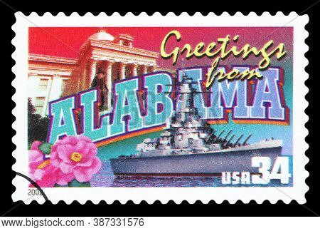 United States Of America - Circa 2002: A Postage Stamp Printed In Usa Showing An Image Of The Alabam