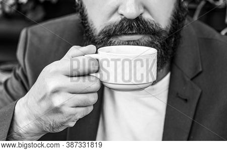 Coffee Drink. Bearded Man, Hands Holding A Hot Coffe Cups. Coffe Time. Black And White
