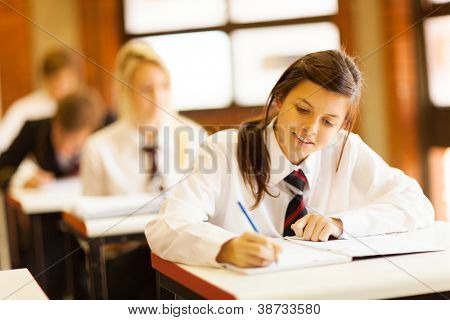 group of high school students studying in classroom