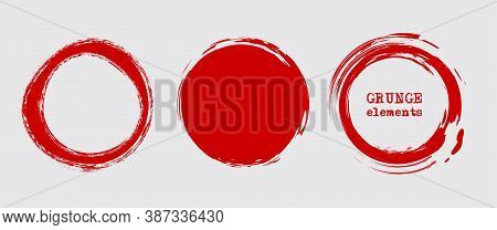 Set Of Grunge Vector Round And Circle. Grunge Background. Abstract Retro Background. Vintage Vector