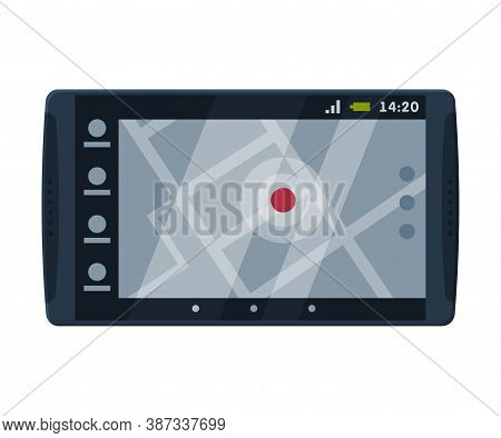 Modern Taximeter Device, Taxi Service Electronic Measurement Equipment With Touchscreen Vector Illus