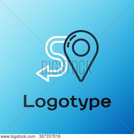 Line Route Location Icon Isolated On Blue Background. Map Pointer Sign. Concept Of Path Or Road. Gps