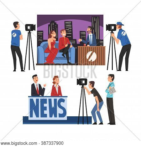 Television Industry Set, Talk Show With Celebrity Participants, Tv News News Show Cartoon Style Vect