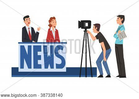 People On Tv Studio Making News, Television Industry Concept Cartoon Style Vector Illustration