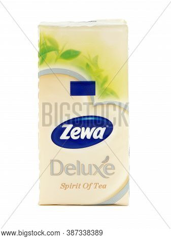 Bucharest, Romania - November 17, 2015. Zewa Deluxe Spirit Of Tea, Soft Cosmetic Tissues Isolated On
