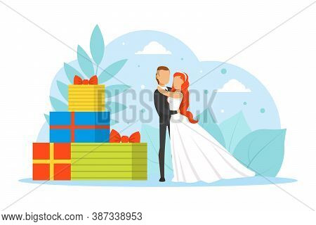 Romantic Just Married Couple, Tiny Bride And Groom Characters Standing Beside Huge Gift Boxes Flat V