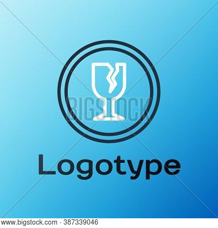 Line Fragile Broken Glass Symbol For Delivery Boxes Icon Isolated On Blue Background. Colorful Outli