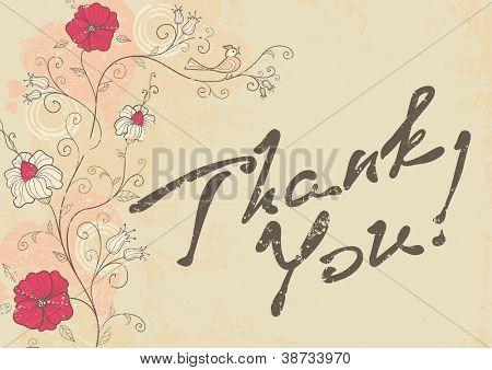 vector retro romantic Thank You card