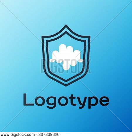 Line Shield Voice Recognition Icon Isolated On Blue Background. Voice Biometric Access Authenticatio