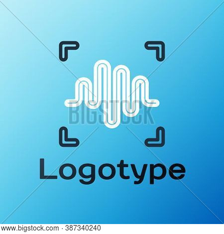 Line Voice Recognition Icon Isolated On Blue Background. Voice Biometric Access Authentication For P