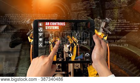 Engineer Controls Robotic Arms By Augmented Reality Industry Technology Application Software. Smart