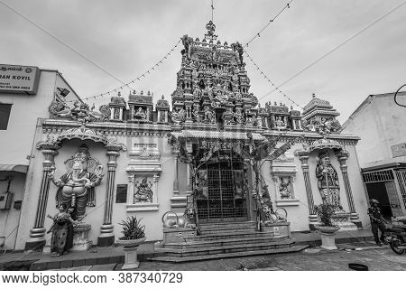 George Town, Penang, Malaysia - December 1, 2019: The Indian Arulmigu Sri Mahamariamman Temple In Ge