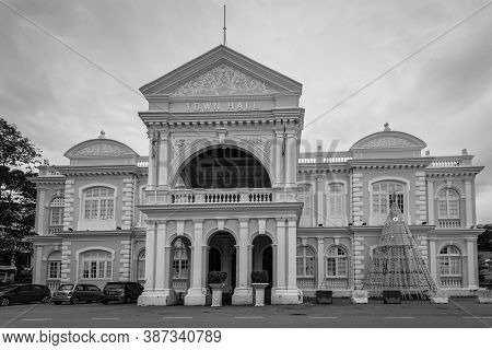 George Town, Penang, Malaysia - December 1, 2019: The Town Hall In George Town, Penang, Malaysia. Bl