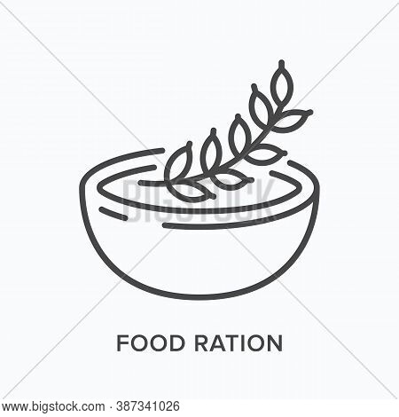 Nutrition Flat Line Icon. Vector Outline Illustration Of Cereal Bowl, Oatmeal. Food Ration Thin Line