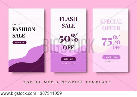 Fashion Sale Social Media Stories Post With Pink Pastel Color. Trend Feminine Design With Liquid Bac