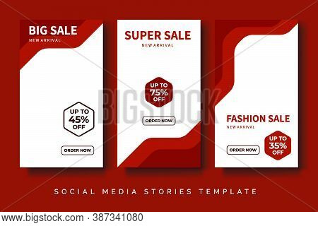 Fashion Sale Social Media Stories Post With Trendy Red Orange Color.