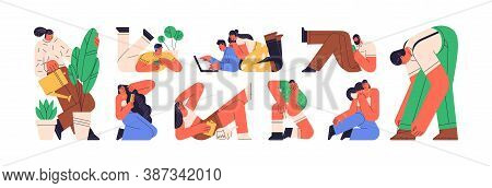 Colorful Set Of Daydreaming Or Relaxing People. Scene Of Recreation Or Relaxation At Home. Character
