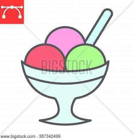 Ice Cream In Bowl Color Line Icon, Dessert And Cold, Sorbet Sign Vector Graphics, Editable Stroke Fi