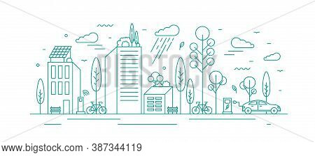 Modern City With Ecological Infrastructure And Vehicles, Roof Greening, Solar Panels And Electrical