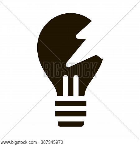 Wrecked Lightbulb Glyph Icon Vector. Wrecked Lightbulb Sign. Isolated Symbol Illustration