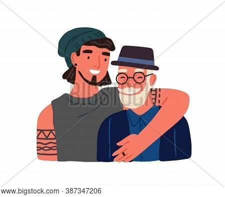 Hipster Guy Hugging Old Grandfather Feeling Love And Tenderness Vector Flat Illustration. Happy Adul