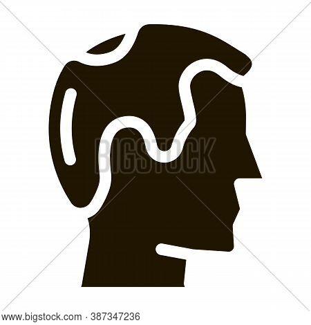 Balding Man Profile Glyph Icon Vector. Balding Man Profile Sign. Isolated Symbol Illustration