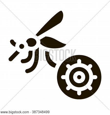 Malaria Mosquito Glyph Icon Vector. Malaria Mosquito Sign. Isolated Symbol Illustration