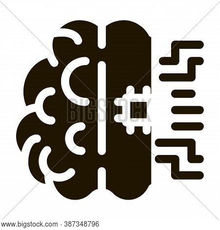 Ai Brain Chip Glyph Icon Vector. Ai Brain Chip Sign. Isolated Symbol Illustration
