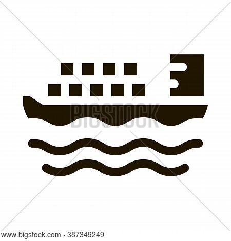 Cargo Ship At Sea Glyph Icon Vector. Cargo Ship At Sea Sign. Isolated Symbol Illustration