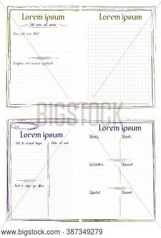 Simple A5 Notepad Page Templates With Ragged Lines Frame. Set Of Four Backgrounds Sheets For Diary.