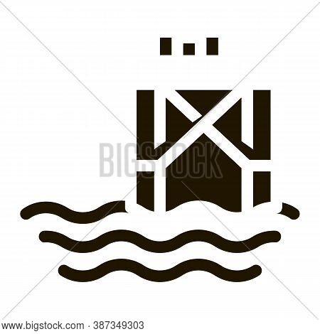 Oil Sea Platform Glyph Icon Vector. Oil Sea Platform Sign. Isolated Symbol Illustration