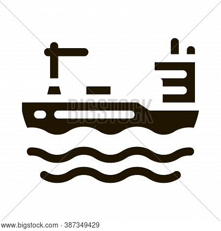 Tanker At Sea Glyph Icon Vector. Tanker At Sea Sign. Isolated Symbol Illustration