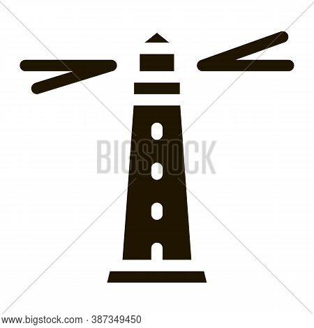 Lighthouse Beacon Glyph Icon Vector. Lighthouse Beacon Sign. Isolated Symbol Illustration