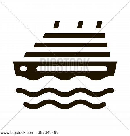 Cruise Ship Glyph Icon Vector. Cruise Ship Sign. Isolated Symbol Illustration